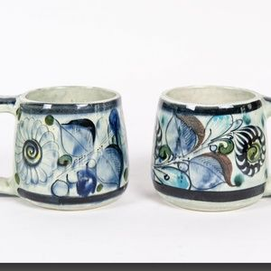 PAIR OF MEXICAN TONALA POTTERY MUGS